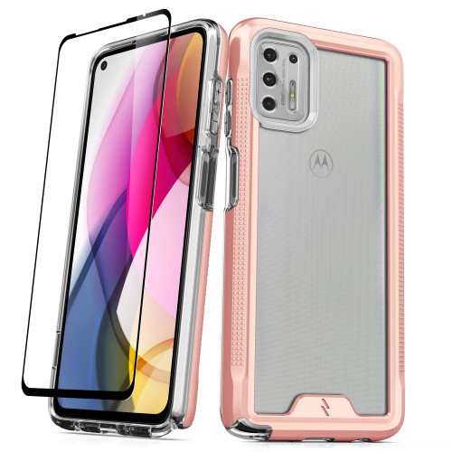 ZIZO ION Series for Moto G Stylus (2021) Case - Military Grade Drop Tested with Tempered Glass Screen Protector - Rose Gold IONC-MOTXT2115-RGDCL