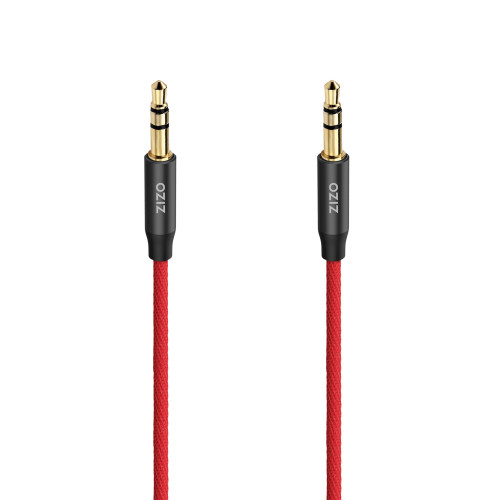 ZIZO 3.5 mm Male to Male Stereo Audio Aux Cable - Black & Red AUX-35MM-BKRD