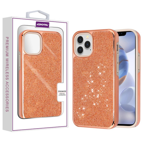 Asmyna Encrusted Rhinestones Hybrid Case for Apple iPhone 12 (6.1) / 12 Pro (6.1) - Electroplated Rose Gold / Rose Gold