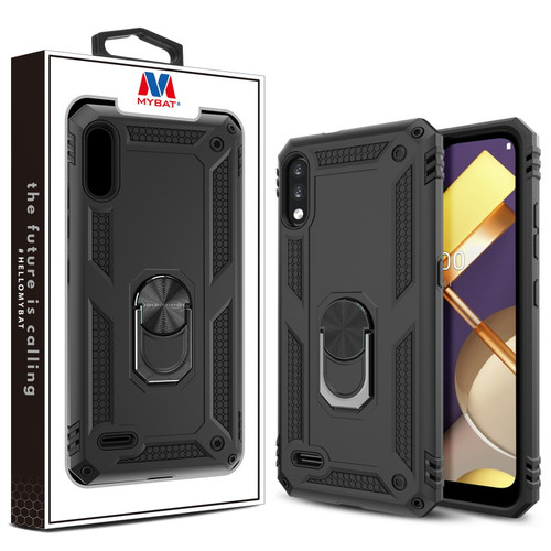 MyBat Anti-Drop Hybrid Protector Case (with Ring Stand) for LG K22 - Black / Black