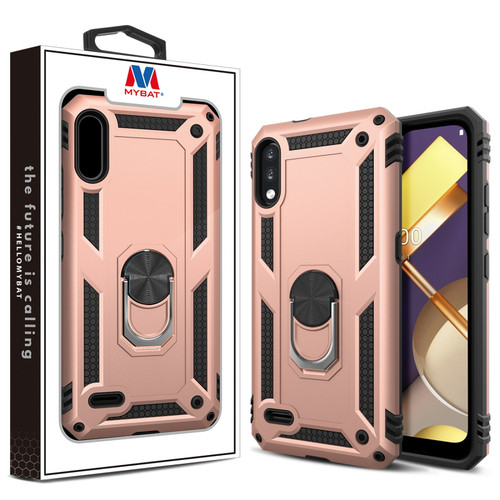 MyBat Anti-Drop Hybrid Protector Case (with Ring Stand) for LG K22 - Rose Gold / Black