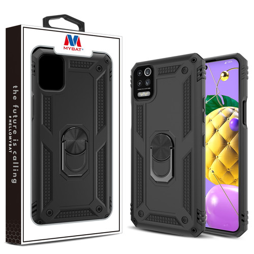 MyBat Anti-Drop Hybrid Protector Case (with Ring Stand) for LG K53 - Black / Black