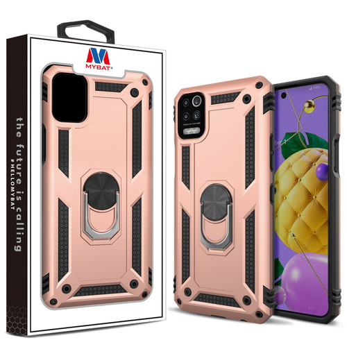 MyBat Anti-Drop Hybrid Protector Case (with Ring Stand) for LG K53 - Rose Gold / Black
