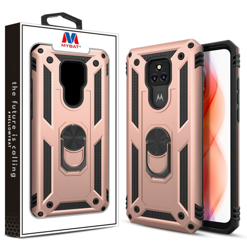 MyBat Anti-Drop Hybrid Protector Case (with Ring Stand) for Motorola Moto G Play (2021) - Rose Gold / Black