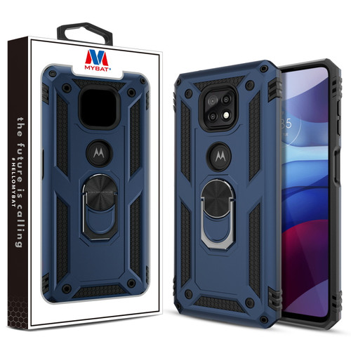 MyBat Anti-Drop Hybrid Protector Case (with Ring Stand) for Motorola Moto G Power (2021) - Ink Blue / Black