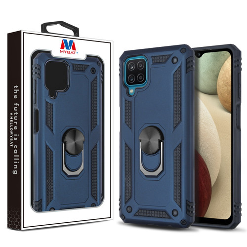 MyBat Anti-Drop Hybrid Protector Case (with Ring Stand) for Samsung Galaxy A12 - Ink Blue / Black