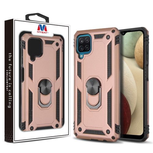 MyBat Anti-Drop Hybrid Protector Case (with Ring Stand) for Samsung Galaxy A12 - Rose Gold / Black