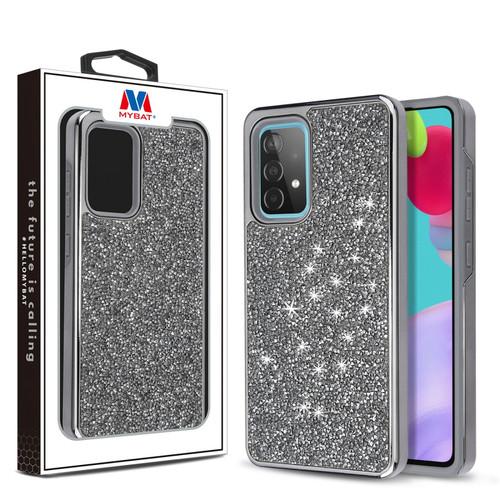 MyBat Encrusted Rhinestones Hybrid Case for Samsung Galaxy A52 5G - Electroplated Gun Metal / Iron Gray