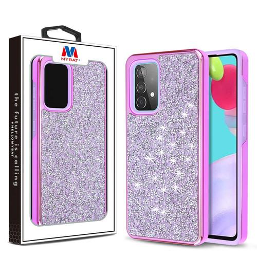 MyBat Encrusted Rhinestones Hybrid Case for Samsung Galaxy A52 5G - Electroplated Purple / Purple