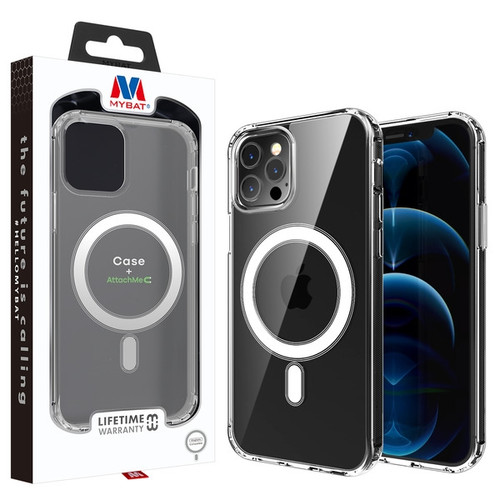 MyBat Fusion Hybrid Case + AttachMe with MagSafe Compatible for Apple iPhone 12 Pro (6.1) / 12 (6.1) - Transparent Clear
