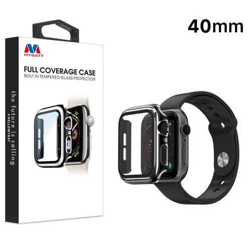 MyBat Fusion Protector Case (with Tempered Glass Screen Protector) for Apple Watch Series 4 40mm - Black / Electroplated Silver