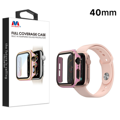 MyBat Fusion Protector Case (with Tempered Glass Screen Protector) for Apple Watch Series 4 40mm - Pink / Electroplated Gold