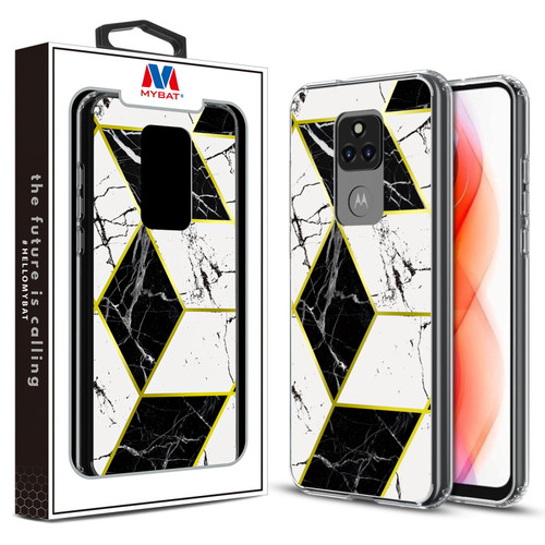 MyBat Fusion Protector Cover for Motorola Moto G Play (2021) - Electroplated Black Marbling