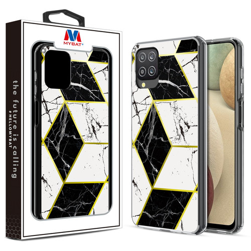 MyBat Fusion Protector Cover for Samsung Galaxy A12 - Electroplated Black Marbling