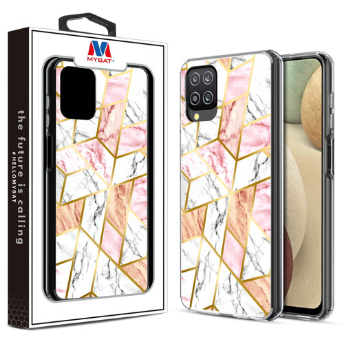 MyBat Fusion Protector Cover for Samsung Galaxy A12 - Electroplated Pink Marbling