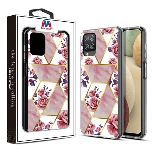 MyBat Fusion Protector Cover for Samsung Galaxy A12 - Electroplated Roses Marbling