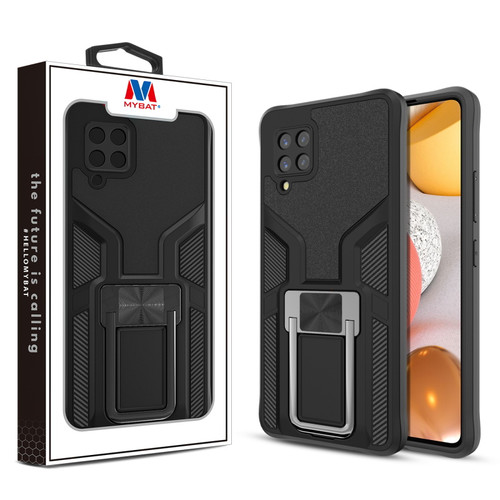 MyBat Hybrid Protector Case (with Ring Stand) for Samsung Galaxy A42 5G - Black / Black