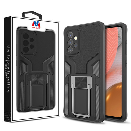 MyBat Hybrid Protector Case (with Ring Stand) for Samsung Galaxy A72 5G - Black / Black