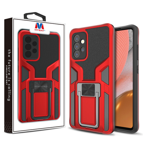 MyBat Hybrid Protector Case (with Ring Stand) for Samsung Galaxy A72 5G - Red / Black