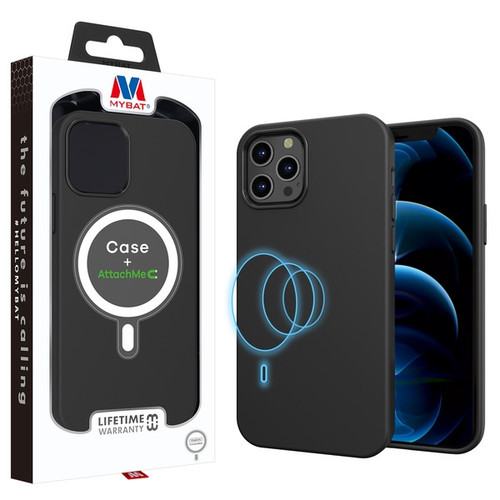 MyBat LIQUID SILICONE EDITION Hybrid Case + AttachMe with MagSafe Compatible for Apple iPhone 12 Pro (6.1) / 12 (6.1) - Black
