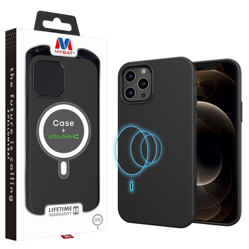 MyBat LIQUID SILICONE EDITION Hybrid Case + AttachMe with MagSafe Compatible for Apple iPhone 12 Pro Max (6.7) - Black
