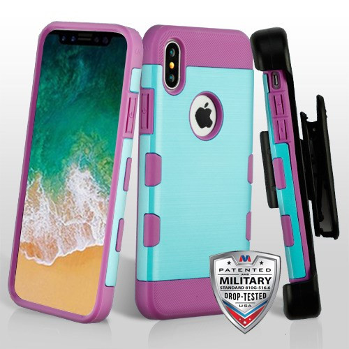 MyBat Metallic Baby Blue/Electric Purple Brushed TUFF Trooper Hybrid Protector Cover [Military-Grade Certified](with Black Horizontal Holster)