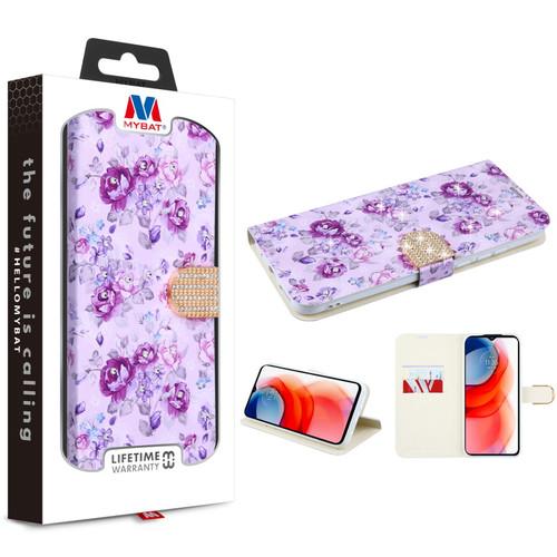 MyBat MyJacket Wallet Diamond Series for Motorola Moto G Play (2021) - Fresh Purple Flowers