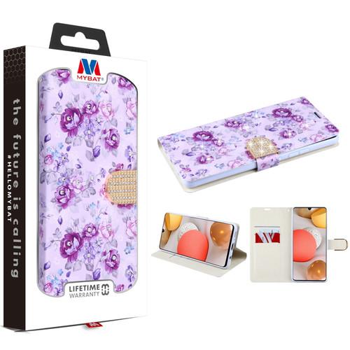 MyBat MyJacket Wallet Diamond Series for Samsung Galaxy A42 5G - Fresh Purple Flowers