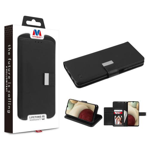 MyBat MyJacket Wallet Xtra Series for Samsung Galaxy A12 - Black / Black
