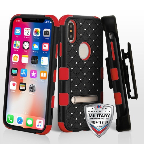 MyBat Natural Black/Red TUFF Hybrid Protector Cover (with Magnetic Metal Stand)(with Diamonds)[Military-Grade Certified](with Black Horizontal Holster)