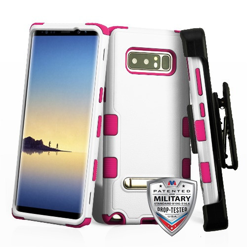 MyBat Natural Cream White/Hot Pink TUFF Hybrid Protector Cover (with Magnetic Metal Stand)[Military-Grade Certified](with Black Horizontal Holster)