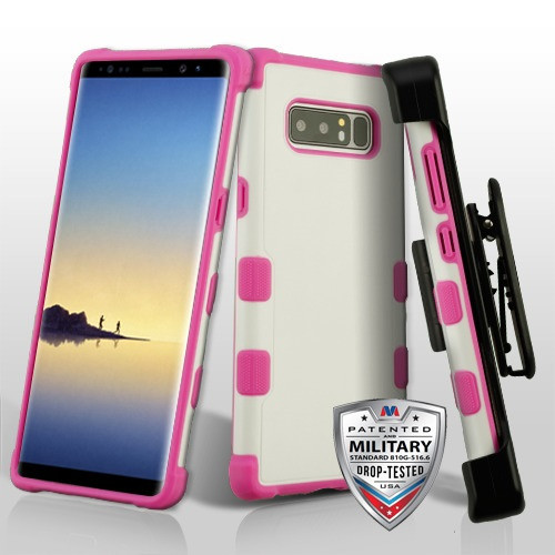 MyBat Natural Cream White/Hot Pink TUFF Merge Hybrid Protector Cover [Military-Grade Certified] (with Black Horizontal Holster)