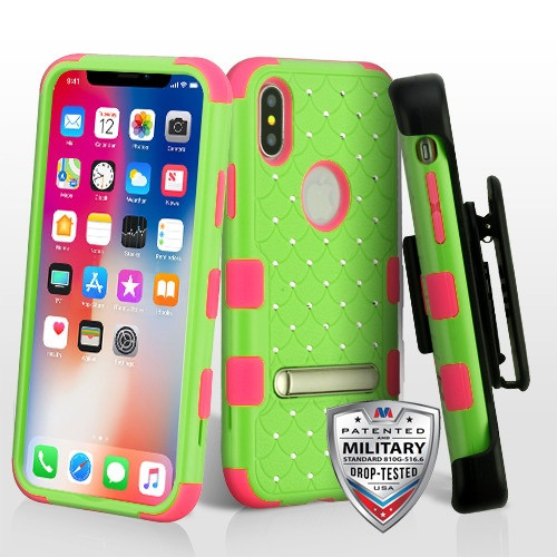 MyBat Natural Pearl Green/Electric Pink TUFF Hybrid Protector Cover (with Magnetic Metal Stand)(with Diamonds)[Military-Grade Certified](with Black Horizontal Holster)