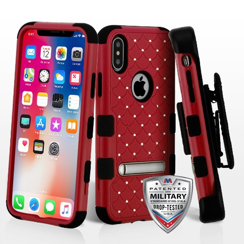 MyBat Natural Red/Black TUFF Hybrid Protector Cover (with Magnetic Metal Stand)(with Diamonds)[Military-Grade Certified](with Black Horizontal Holster)