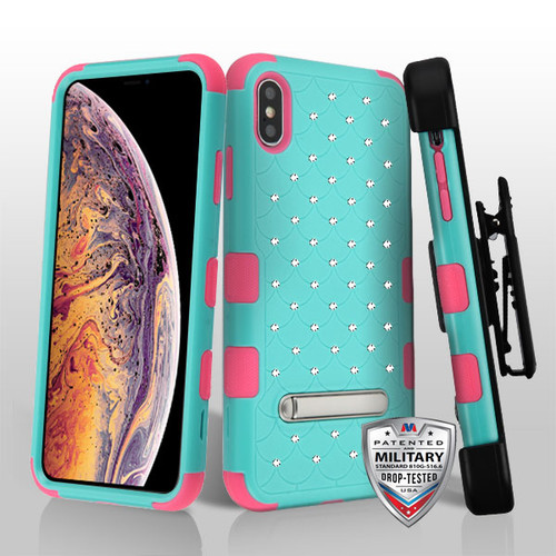 MyBat Natural Teal Green/Electric Pink FullStar TUFF Hybrid Protector Cover (with Magnetic Metal Stand)[Military-Grade Certified](with Black Horizontal Holster)