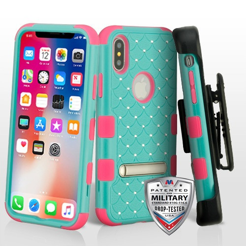 MyBat Natural Teal Green/Electric Pink TUFF Hybrid Protector Cover (with Magnetic Metal Stand)(with Diamonds)[Military-Grade Certified](with Black Horizontal Holster)