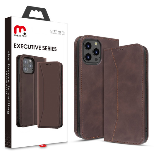 MyBat Pro Executive Series Wallet Case for Apple iPhone 12 Pro Max (6.7) - Brown