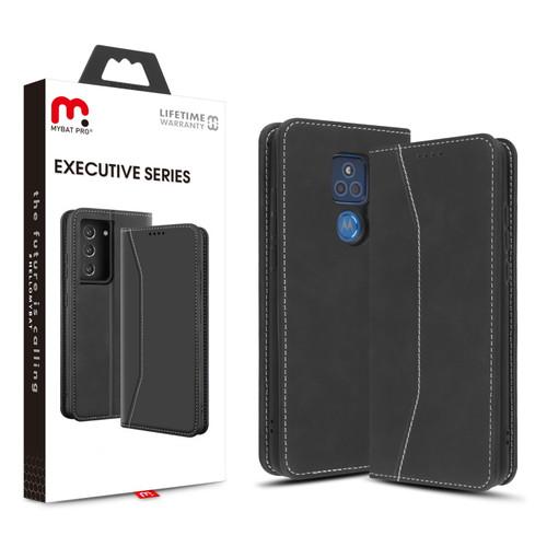 MyBat Pro Executive Series Wallet Case for Motorola Moto G Play (2021) - Black
