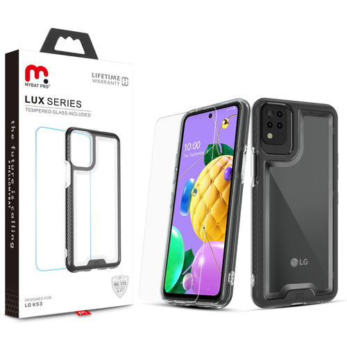 MyBat Pro Lux Series Case with Tempered Glass for LG K53 / K52 - Black