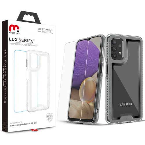 MyBat Pro Lux Series Case with Tempered Glass for LG Stylo 6 for Samsung Galaxy A32 5G - Silver