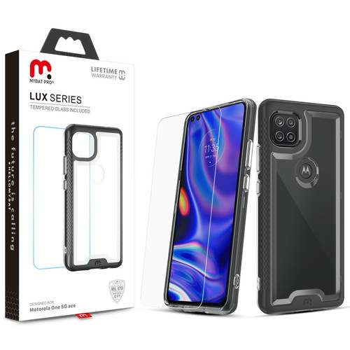 MyBat Pro Lux Series Case with Tempered Glass for Motorola one 5G ace - Black