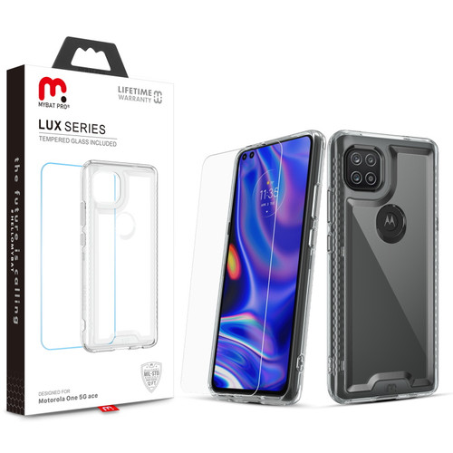 MyBat Pro Lux Series Case with Tempered Glass for Motorola one 5G ace - Clear