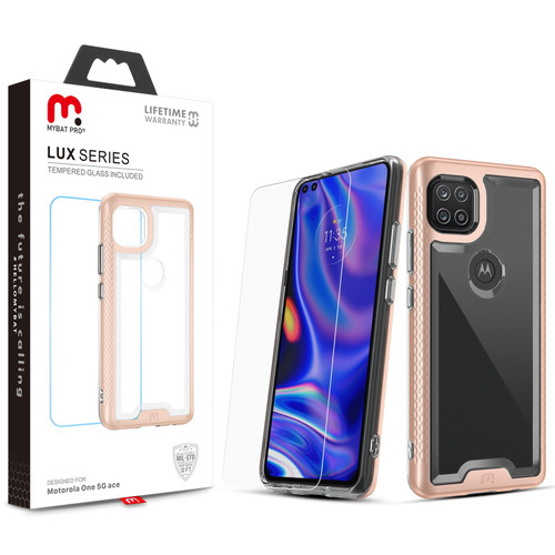 MyBat Pro Lux Series Case with Tempered Glass for Motorola one 5G ace - Rose Gold