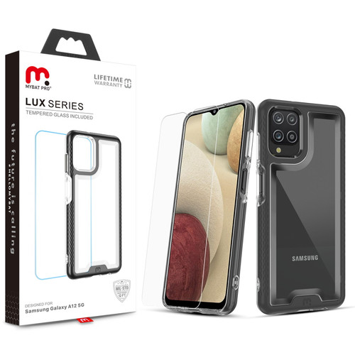 MyBat Pro Lux Series Case with Tempered Glass for Samsung Galaxy A12 - Black
