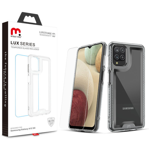 MyBat Pro Lux Series Case with Tempered Glass for Samsung Galaxy A12 - Clear