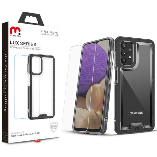 MyBat Pro Lux Series Case with Tempered Glass for Samsung Galaxy A32 5G - Black