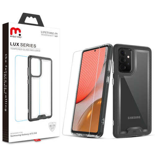 MyBat Pro Lux Series Case with Tempered Glass for Samsung Galaxy A72 5G - Black