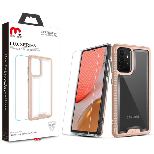 MyBat Pro Lux Series Case with Tempered Glass for Samsung Galaxy A72 5G - Rose Gold