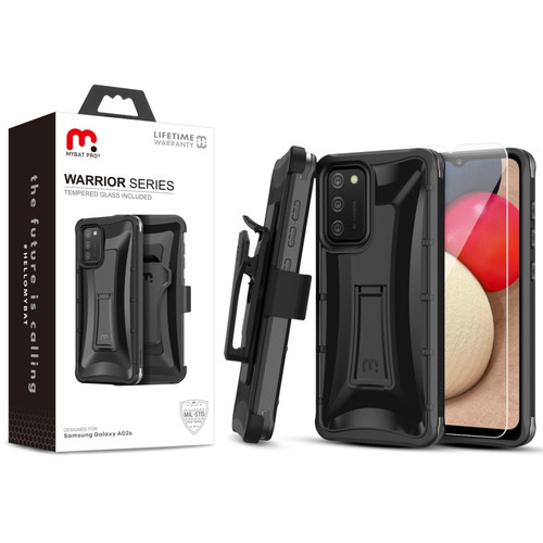 MyBat Pro Warrior Series Case with Holster and Tempered Glass for Samsung Galaxy A02s - Black