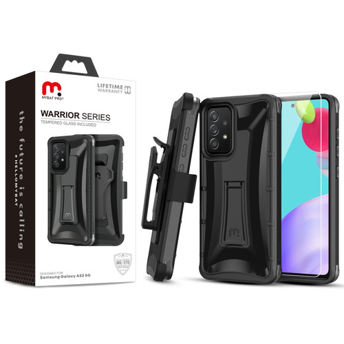 MyBat Pro Warrior Series Case with Holster and Tempered Glass for Samsung Galaxy A52 5G - Black